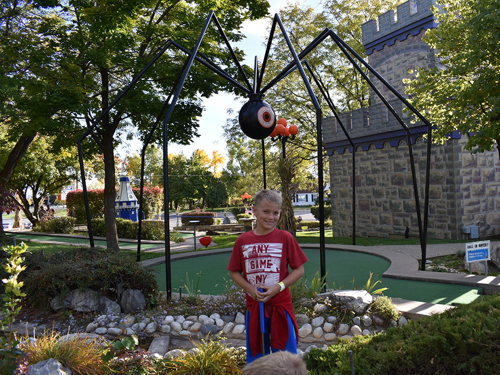Scary Hill Mini Golf Player at Cherry Hill Water Park, Family Fun Center & Camping Resort