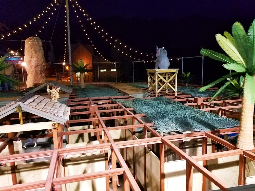 Jungle Maze at Night at Cherry Hill Water Park, Family Fun Center & Camping Resort