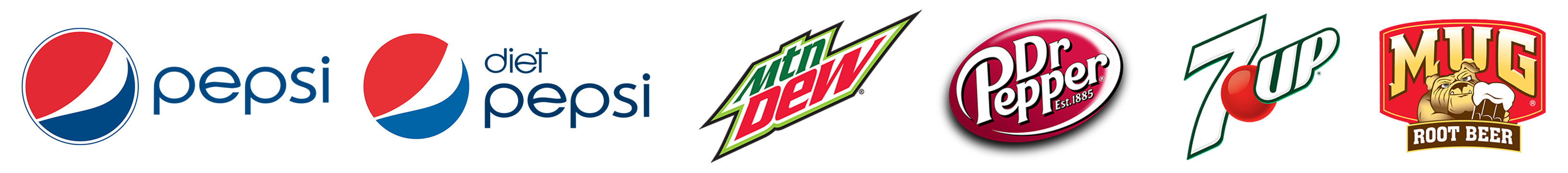 Drinks Logos — Pepsi | Diet Pepsi | Mountain Dew | Dr Pepper | 7 Up | Mug Root Beer